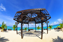 A wonderful gazebo at seashore with lovely view Stock Image