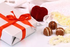 Wonderful gifts for St. Valentine Day Royalty Free Stock Photography