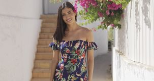 Wonderful girl in dress at tropical street stock video footage