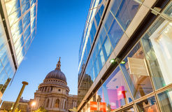 Wonderful glass reflections of St Paul Cathedral dome at night, Royalty Free Stock Photography