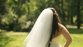 Wonderful gorgeous bride in exellent white dress with long veil playfully runs away on lawn in the park stock video footage