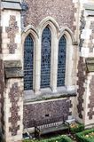 Detail from the facade of Southwark Cathedral in London. The wonderful Gothic building was erected between 1220 and 1420. Southwark Cathedral lies on the south royalty free stock photos