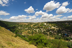 Wonderful green rural area under blue sky. Wonderful green rural area of Orheiul Vechi under blue sky, Moldova Stock Photos