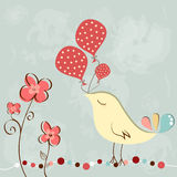 Little bird with balloon. Wonderful greeting birthday card with cute bird holding balloons Stock Photo