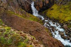 Wonderful and high waterfall Fardagafoss near Egilsstadir on Eas. Tern Iceland, summer time royalty free stock photos