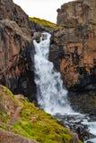 Wonderful and high waterfall Fardagafoss near Egilsstadir on Eas. Tern Iceland, summer time stock image