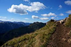 Wonderful hiking trail and great view on dolomite mountains Royalty Free Stock Photo