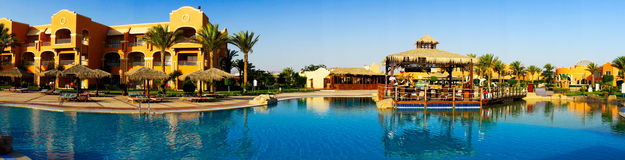 Wonderful  hotel swimming pool in the Egypt. Royalty Free Stock Photos