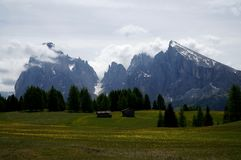 Wonderful idyllic alp and distinctive mountains in south tyrol Royalty Free Stock Image
