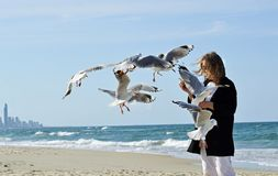 Happy healthy mature woman hand feeding seagulls birds on beach