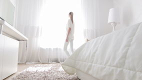 Wonderful interior of bedroom stock footage