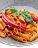 A wonderful Italian pasta dish in tomato with spinach and paprika. A wonderful Italian pasta dish in tomato with spinach and paprika royalty free stock image