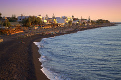 Black beach at sunrise,Santorini Royalty Free Stock Image