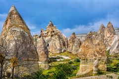 Wonderful landscape  with ancient church at Cappadocia, Anatolia. Turkey. Volcanic mountains in Goreme national park Royalty Free Stock Photography