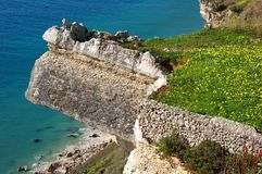 Wonderful landscape at the Atlantic west coast in Portugal. Great nature and wonderful colours at Portugal`s Atlantic west coast. Rocks and blue water royalty free stock image