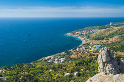 Wonderful Landscape with Blue Bay near Simeiz town Crimea Royalty Free Stock Image