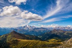 Wonderful landscape of the Dolomites Alps. Amazing view of Marmolada mountain. Location: South Tyrol, Dolomites, Italy. Travel in