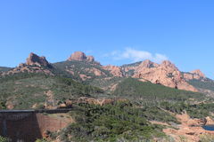Wonderful landscape of the Esterel Mountain in French Riviera, Var, France. Royalty Free Stock Photography