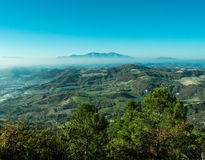 Wonderful landscape from Furlo, marche Italy. The Furlo Pass is a gorge on the ancient Roman road Via Flaminia in the Marche region of central Italy, where it royalty free stock image