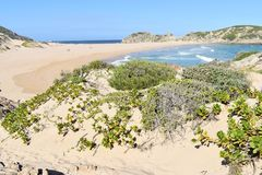 Wonderful landscape at the hiking trail at Robberg Nature Reserve in Plettenberg Bay, South Africa. Wonderful landscape at the famous hiking trail at Robberg stock images
