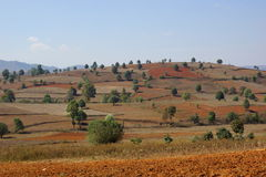 Wonderful landscape between Kalaw and Inle lake in Stock Photography