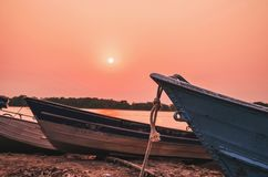 Wonderful landscape of old boats anchored in Pantanal, Brazil royalty free stock image