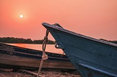 Wonderful landscape of old boats anchored in Pantanal, Brazil stock photo