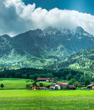 Wonderful landscape with village in mountains Stock Images