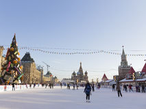 Wonderful large skating rink on Red Square Royalty Free Stock Images