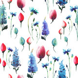 Wonderful lovely elegant graphic sophisticated spring floral herbal colorful textile blue delphiniums red pink tulips and blue cor Stock Photos