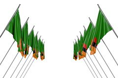 Cute any celebration flag 3d illustration - many Zambia flags hanging on in corner poles from left and right sides isolated on. Wonderful many Zambia flags vector illustration