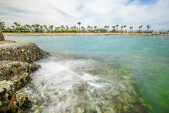 A wonderful marine landscape, views of the sea and the beach. With Palm trees,Egipt,Hurghada Stock Photography