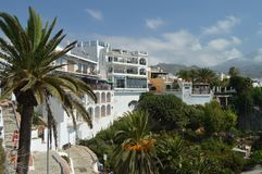 Wonderful Maritime Walk From Nerja From Where We Can See Its Beautiful White Buildings stock photos