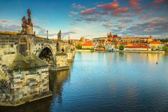 Wonderful medieval stone Charles bridge and castle, Prague, Czech Republic Royalty Free Stock Image