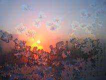 Wonderful morning #1. Frosty natural pattern on winter window Stock Photo
