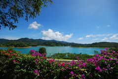 Wonderful mountain. This is a mountain in a large green lake in surat south of thailand Royalty Free Stock Image