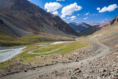 Wonderful mountain road in Kyrgyzstan Stock Images