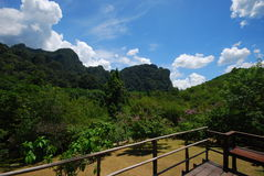Wonderful mountain. This is a mountain in thai style resort.this picture took from terrace of resort Stock Images