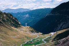 Wonderful mountain view. mountain winding road with many turns in autumn day. Transfagarasan highway, the most beautiful road in stock photo