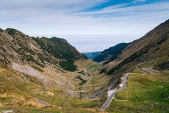 Wonderful mountain view. mountain winding road with many turns in autumn day. Transfagarasan highway, the most beautiful road in royalty free stock images