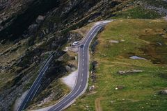 Wonderful mountain view. mountain winding road with many turns in autumn day. Transfagarasan highway, the most beautiful road in. Europe, Romania, Transfagarash stock images
