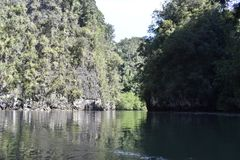 Wonderful mountainous landscape at a kayak trip into the mangrove forest in Ao Thalaine in Krabi in Thailand, Asia. Wonderful mountainous landscape at a kayak royalty free stock photography