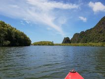 Wonderful mountainous landscape at a kayak trip into the mangrove forest in Ao Thalaine in Krabi in Thailand, Asia. Wonderful mountainous landscape at a kayak stock photo