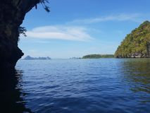 Wonderful mountainous landscape at a kayak trip into the mangrove forest in Ao Thalaine in Krabi in Thailand, Asia. Wonderful mountainous landscape at a kayak stock images