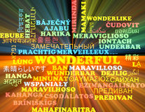 Wonderful multilanguage wordcloud background concept glowing Royalty Free Stock Image