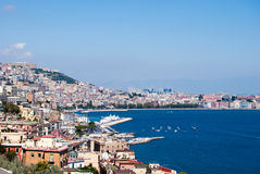 Wonderful Naples panoramic view with Vesuvius and gulf from Posillipo Stock Photos