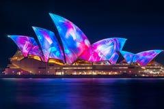 Wonderful new Designs on the Opera House at Vivid Sydney. SYDNEY, AUSTRALIA - June 5, 2017, Sydney Opera House illuminated with innovative light installations Royalty Free Stock Image