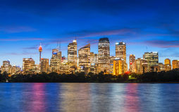 Wonderful night skyline of Sydney, Australia Stock Photos