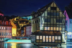 Wonderful night type of historical center and river Regnitz. Stock Photo