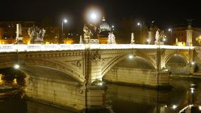 Wonderful night view over the Bridges of Rome stock footage